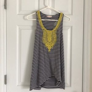 Tops - Le sample stripe tank with yellow detail. Sz M